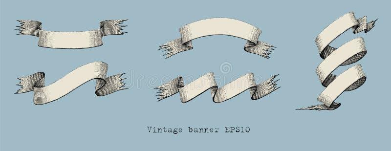Illustration för gravyr för teckning för tappningbanerhand royaltyfri illustrationer