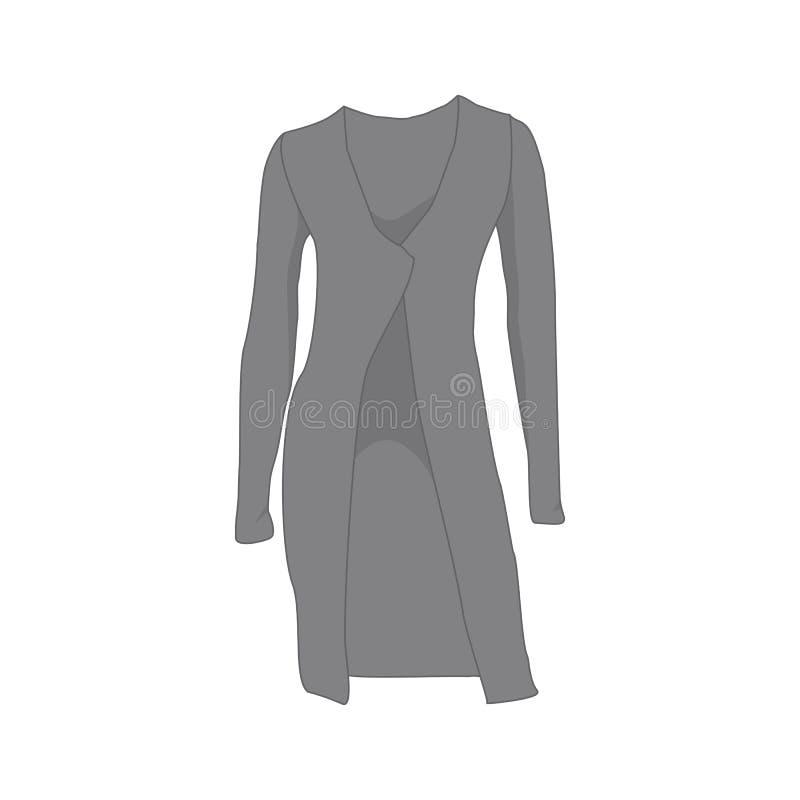 Illustration för Grey Women Long Shirt Fashion stilobjekt stock illustrationer