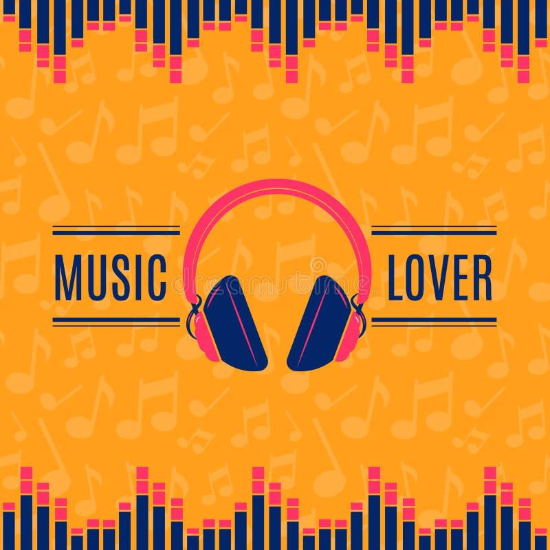 Illustration för hörlurar för vektormusikvän på bakgrund för musikaliska anmärkningar vektor illustrationer
