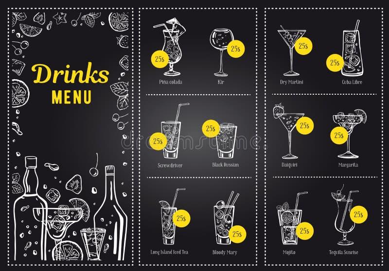 Illustration för hand för översikt för vektor för mall för coctailmenydesign och drinklistautdragen med flaskor och exponeringsgl royaltyfri illustrationer