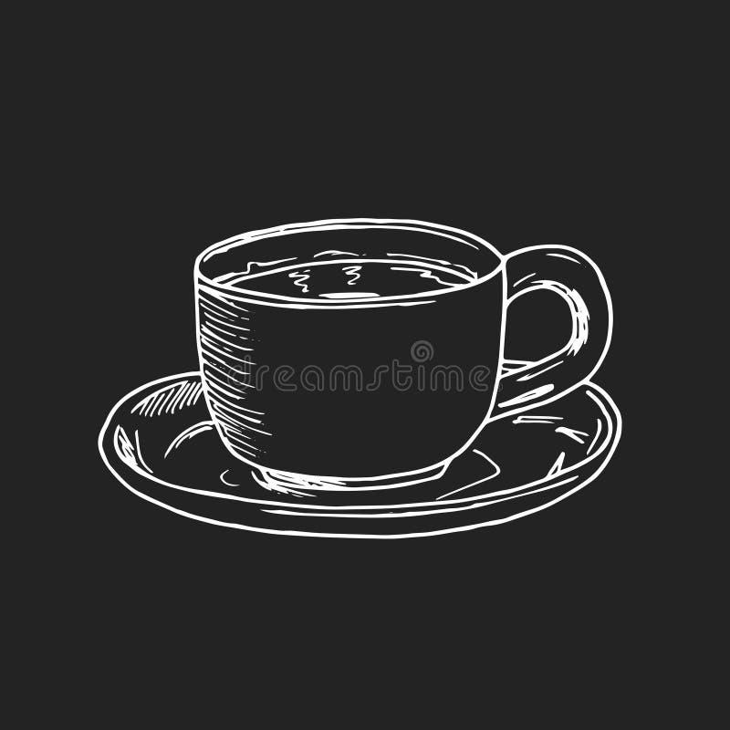 Illustration för handattraktionvektor En kopp te eller ett kaffe och sötsaker stock illustrationer