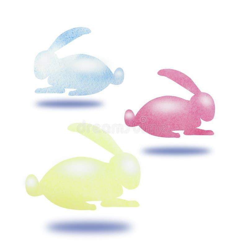 Illustration för handteckningsborste av colorfullkaninen med vattenfärger Design för papper, textil, bakgrund, kort Påskferie c stock illustrationer