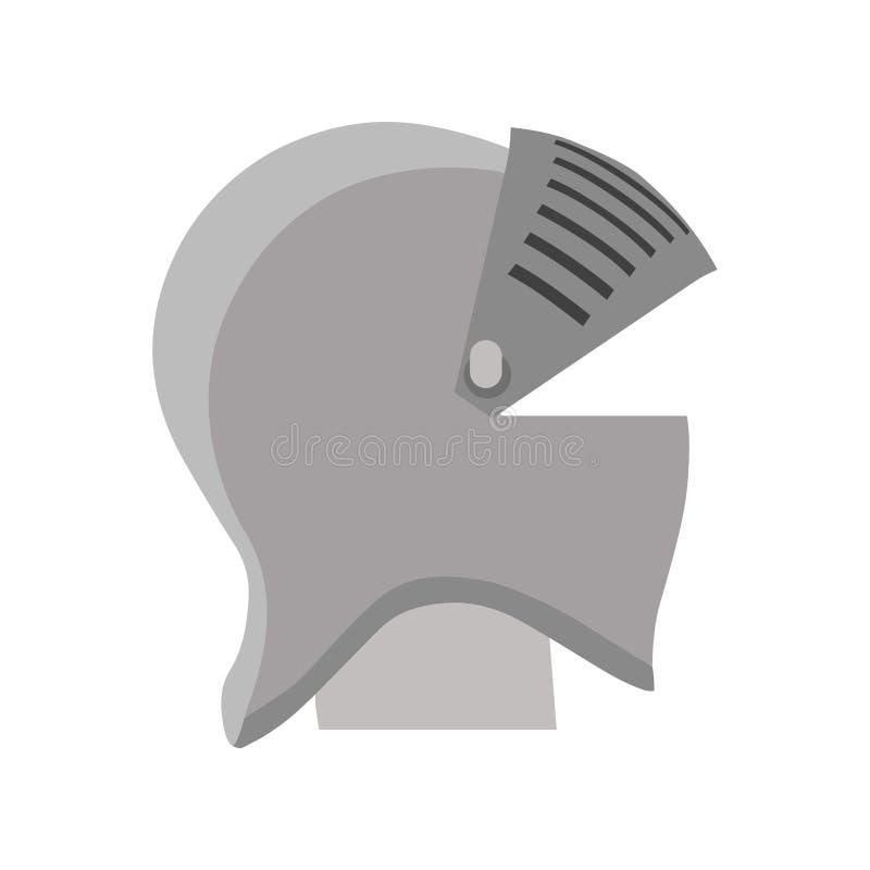 Illustration för harnesk för hjälmriddarevektor isolerad medeltida Militär för sköldkrigaresymbol royaltyfri illustrationer