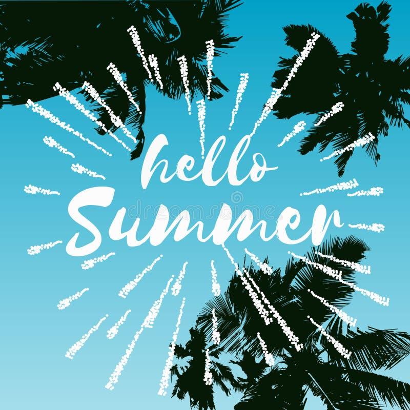 Illustration för Hello sommarvektor, bakgrund Rolig logo eller etikett för citationsteckenhipsterdesign stock illustrationer