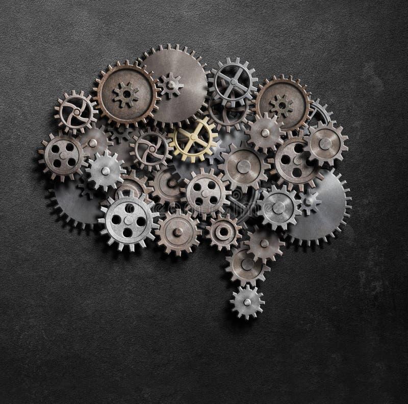Illustration för hjärnkugghjul- och kuggemodell 3d royaltyfri illustrationer