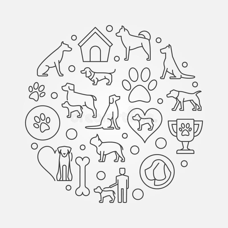 Illustration för hundkapplöpningrundaöversikt royaltyfri illustrationer