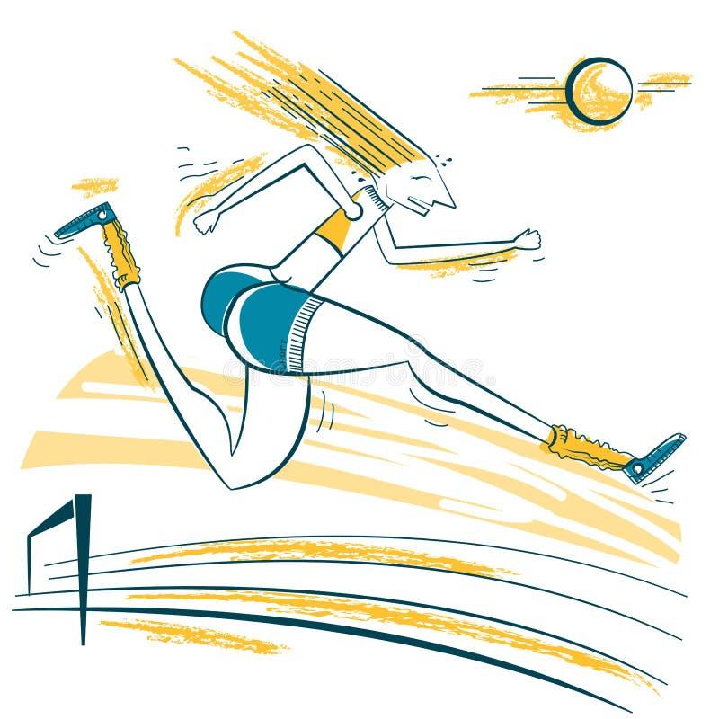 Illustration för idrottsman nenbanhoppningsport stock illustrationer