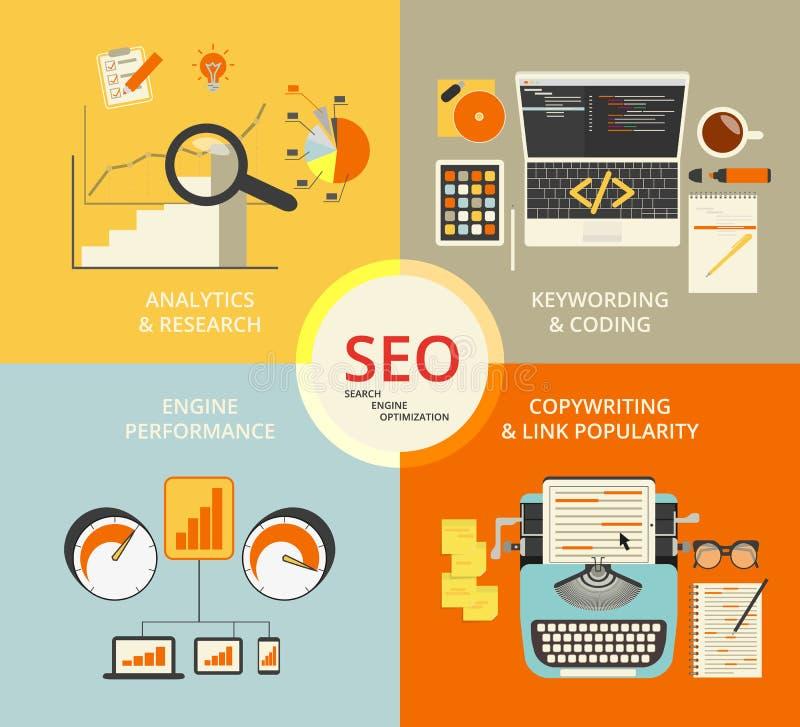 Illustration för Infographic lägenhetbegrepp av SEO royaltyfri illustrationer