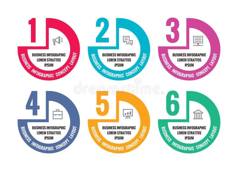 Illustration för Infographic vektorbegrepp för presentation, häfte, website och annat designprojekt Moment numrerad alternativcre stock illustrationer