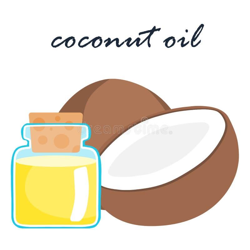 Illustration för ingrediens för mat för kokosnötolja toppen vektor illustrationer