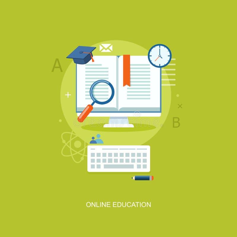 Illustration för internetutbildningslägenhet vektor illustrationer