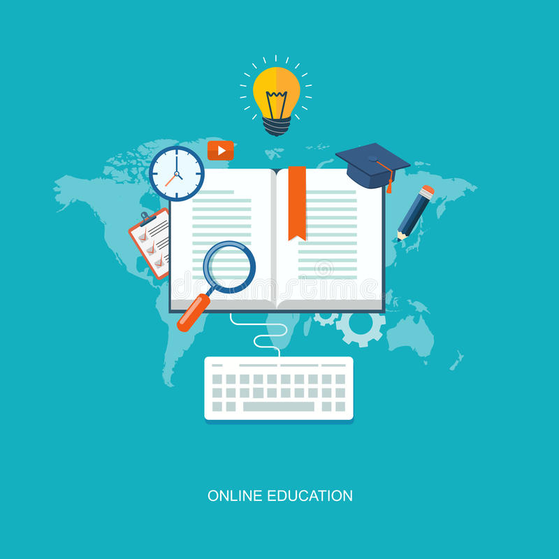 Illustration för internetutbildningslägenhet stock illustrationer