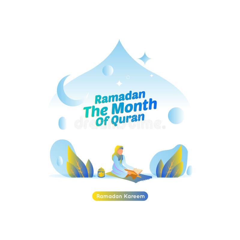 Illustration för islamiska Ramadan Greetings - läst Quran vektor illustrationer