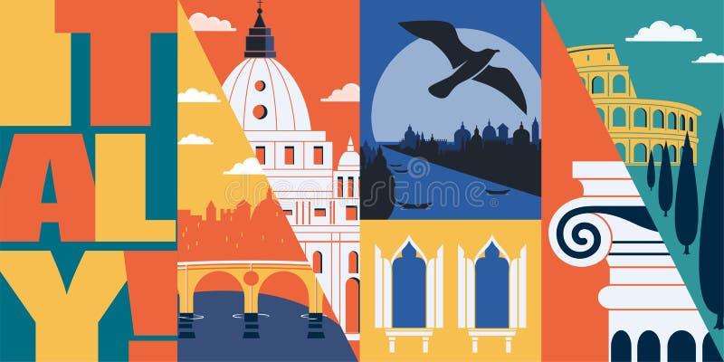 Illustration för Italien vektorhorisont, vykort Lopp till Italien, Rome stock illustrationer