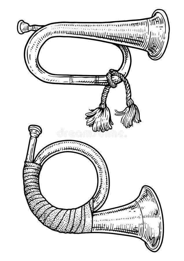 Illustration för jakthorn, teckning, gravyr, färgpulver, linje konst, vektor stock illustrationer