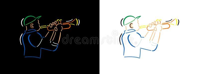 Illustration för jazzmusiker i linjen konststil på svart bakgrund och vitbakgrund Linje konst för Jazzmanfärgvektor stock illustrationer