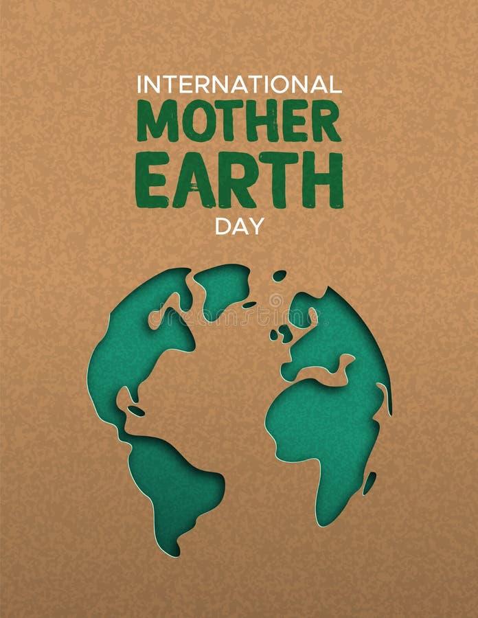 Illustration för jorddag av den pappers- klippta världskartan stock illustrationer