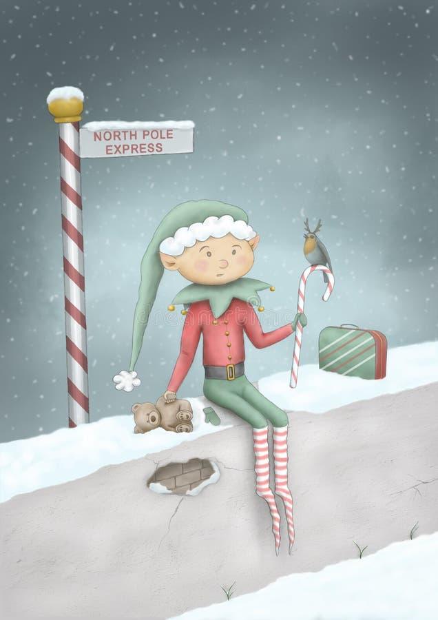 Illustration för jul för gullig hand för full färg utdragen av älvan som sitter på väggen i snö på den uttryckliga teckenstolpen  royaltyfri illustrationer
