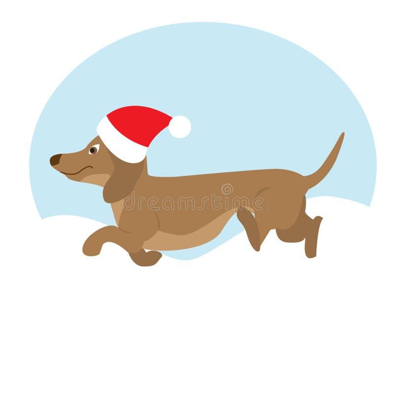 Illustration för julhundvektor var kan sammansättning varje lätt använt redigerbart fullt objekt som ut separat tas Tecknad films stock illustrationer