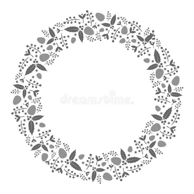 Illustration för julkranslägenhet med järnekväxter och pinecone royaltyfria bilder