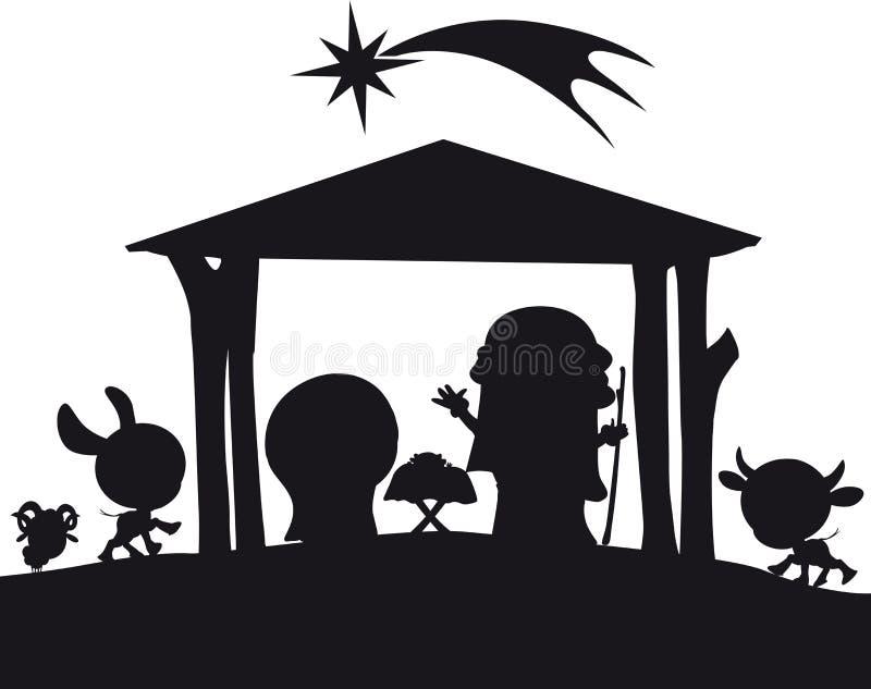 Illustration för julKristi födelsekontur stock illustrationer