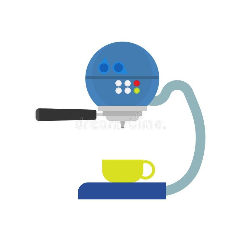 Illustration för kafé för symbol för kaffemaskinvektor Tillverkare för anordning för utrustning för dryck för espressokoffeindrin stock illustrationer