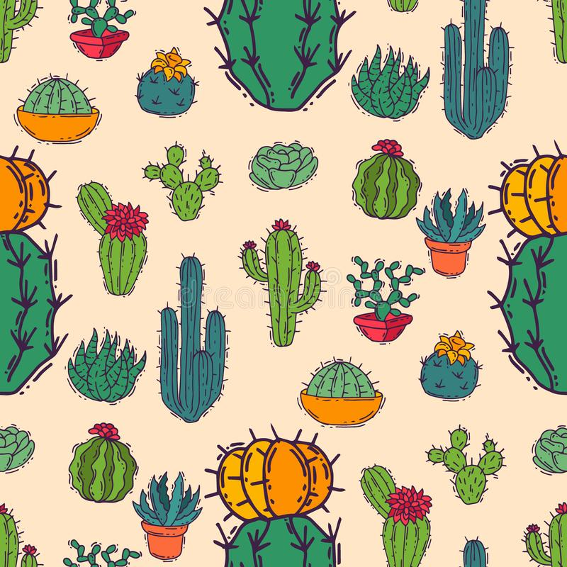 Illustration för kaktushemnatur av det cactaceous trädet för grön växt med sömlös modellbakgrund för blomma royaltyfri bild