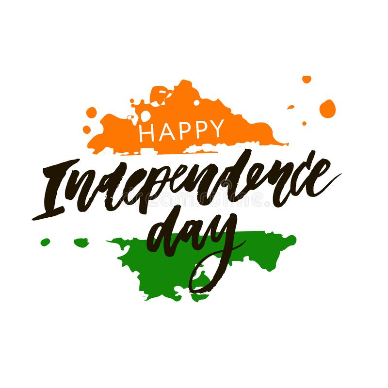 Illustration för kalligrafi för bokstäver för Indien självständighetsdagen 15 august royaltyfri illustrationer