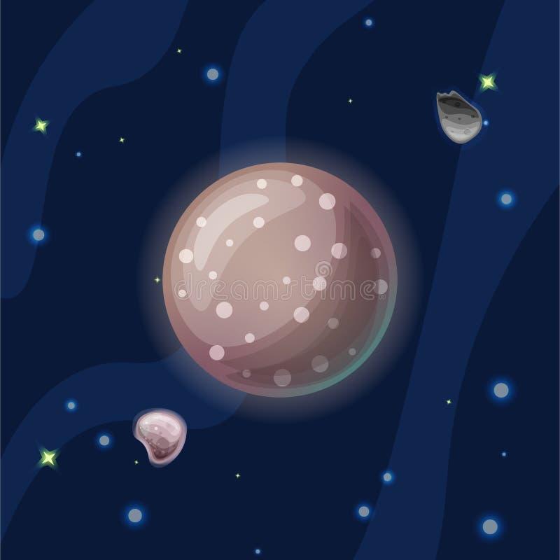 Illustration för Kallisto vektortecknad film Brun Jupitermåne Callisto av solsystemet i mörkt djupblått utrymme som isoleras på stock illustrationer