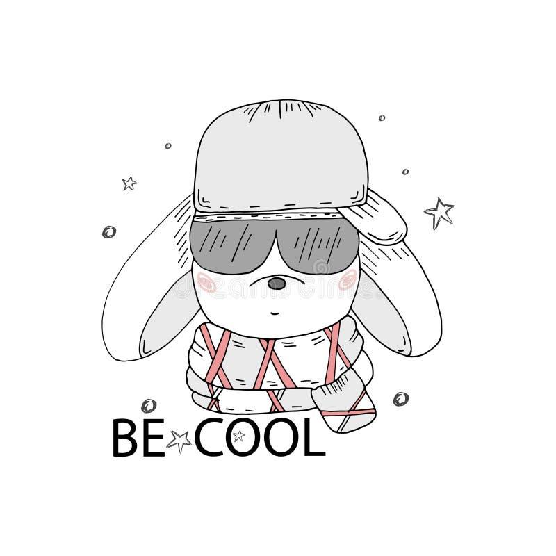 Illustration för kaninpojkeunge, hand dragit diagram, hipsterdjurstående stock illustrationer