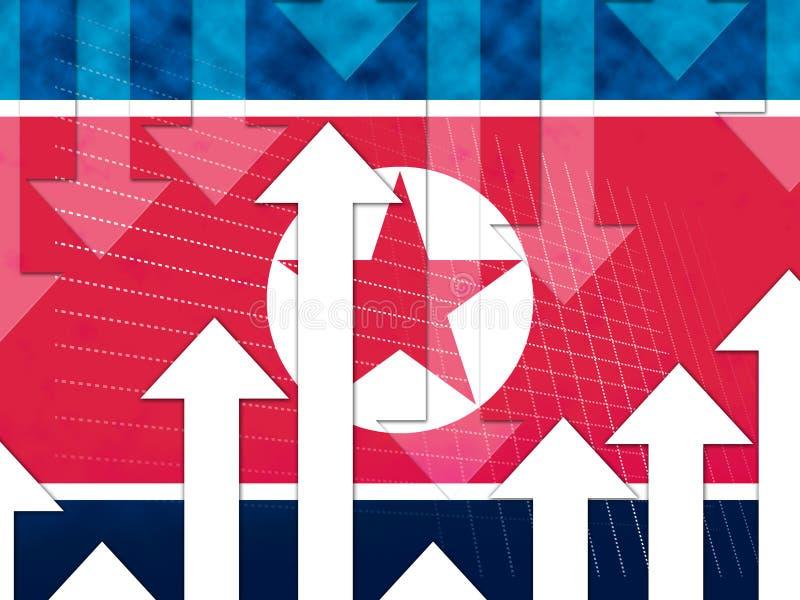 Illustration för katastrof 3d för Nordkorea ekonomiaffär vektor illustrationer
