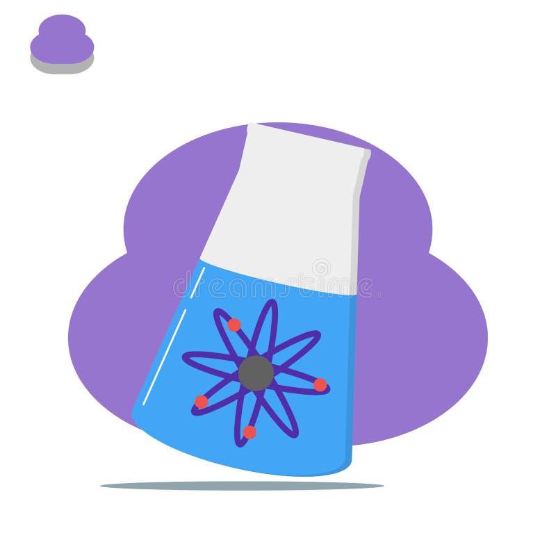 Illustration för kemi för för Erlenmeyer labbkemikalie och atom - vektor stock illustrationer