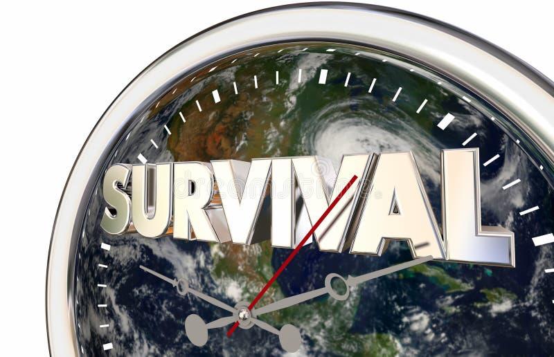 Illustration för klocka 3d för värld för jord för överlevnadnedräkningplanet royaltyfri illustrationer