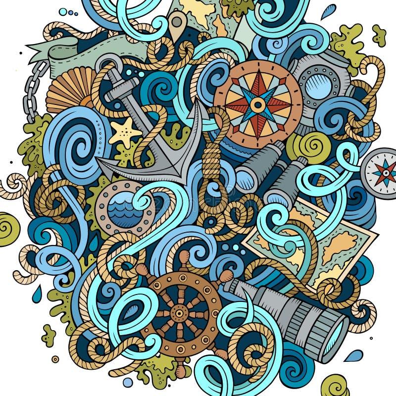 Illustration för klotter för tecknad film gullig dragen nautisk hand stock illustrationer