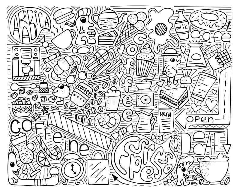 Illustration för klottervektormonokrom Modern konst för kaffe royaltyfri illustrationer