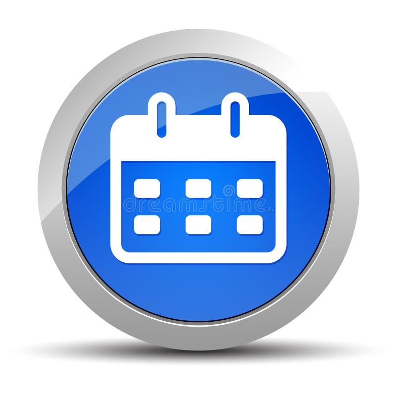 Illustration för knapp för kalendersymbol blå rund stock illustrationer