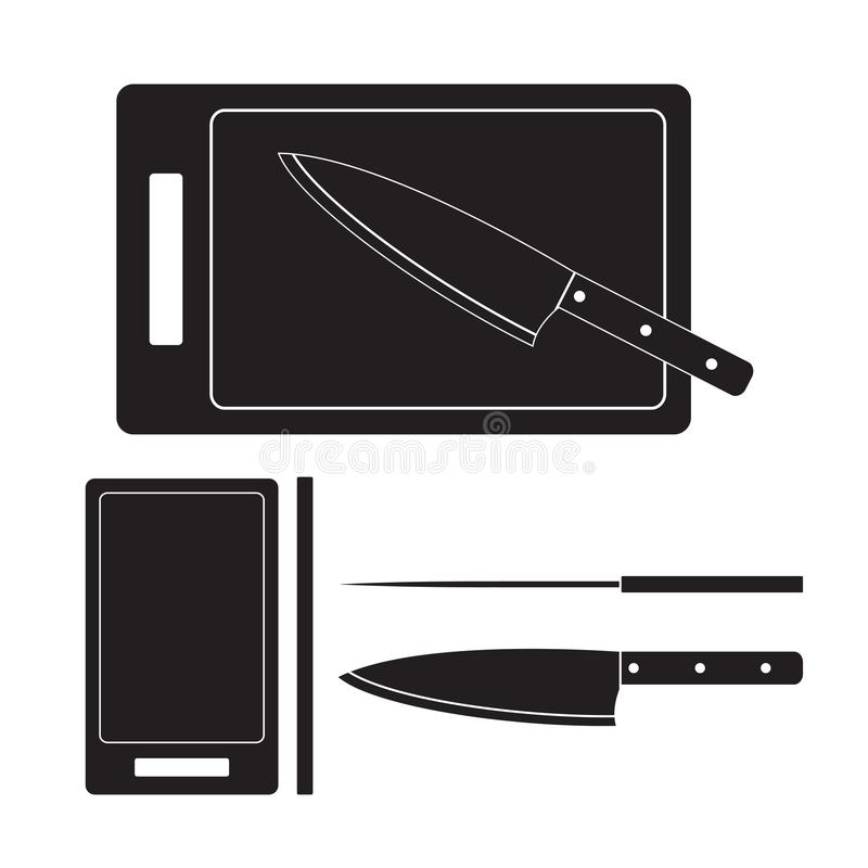 Illustration för kniv- och skärbrädasymbolsvektor Plant tecken som isoleras på vit bakgrund vektor illustrationer