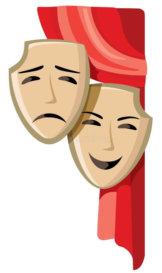 Illustration för komedi- och tragediteatermaskeringar vektor illustrationer