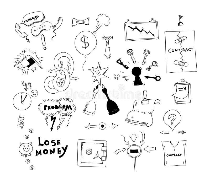 Illustration för konflikt för affärsintresse dragen hand royaltyfri illustrationer