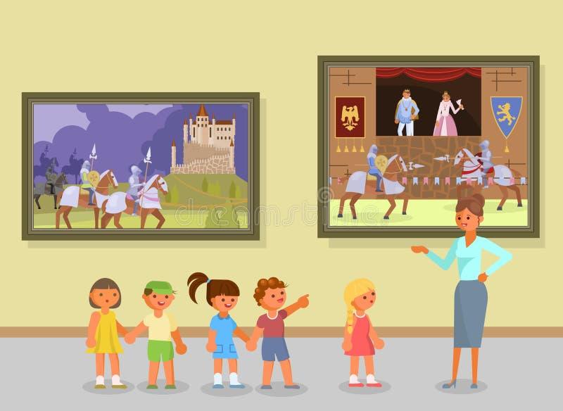 Illustration för konstmusemutfärdvektor stock illustrationer