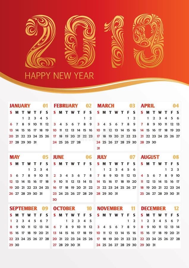illustration 2019 för kontorskalendervektor royaltyfri illustrationer