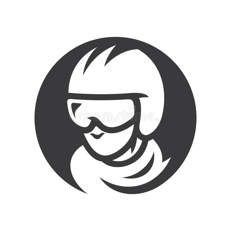 Illustration för kontur för motorcykeltävlingsförarevektor enkel royaltyfri illustrationer