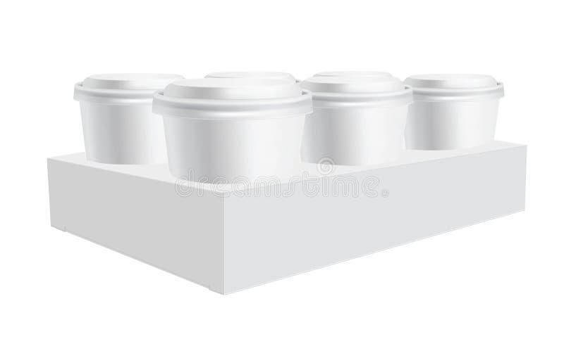 Illustration för kopphållare, vektor Kaffekopphållare, sex packekopp, exponeringsglas, ölhållareillustration Vitt klart, mellanru stock illustrationer