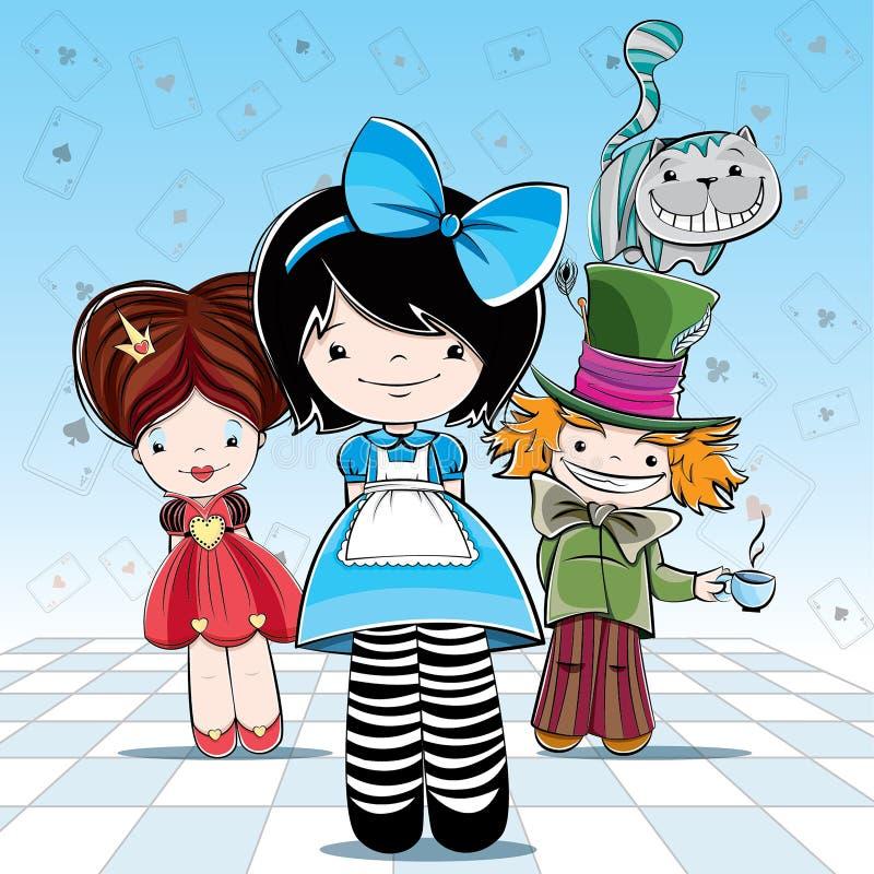 Illustration för kort eller parti Alice i underland vektor illustrationer