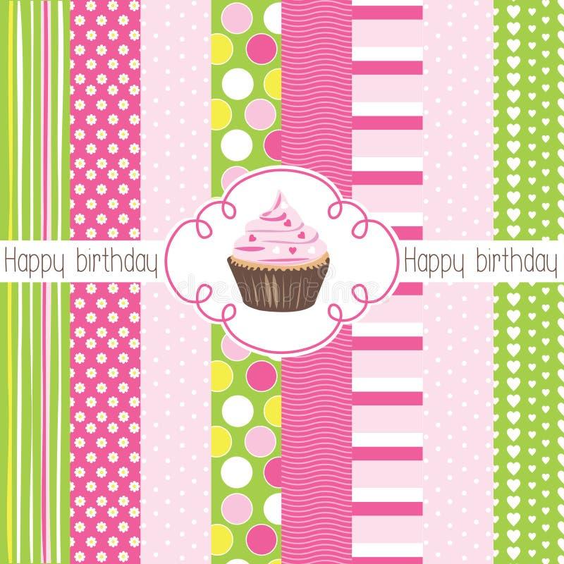 Illustration för kort för lycklig födelsedag för muffin stock illustrationer