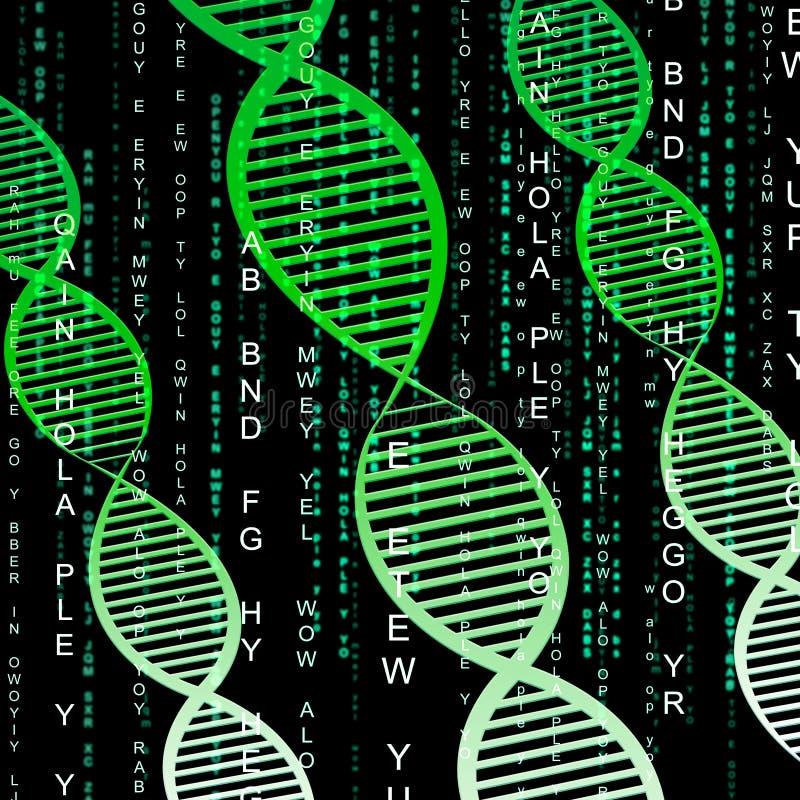 Illustration för kromosom 3d för Dna-spiralbetydelse genetisk stock illustrationer