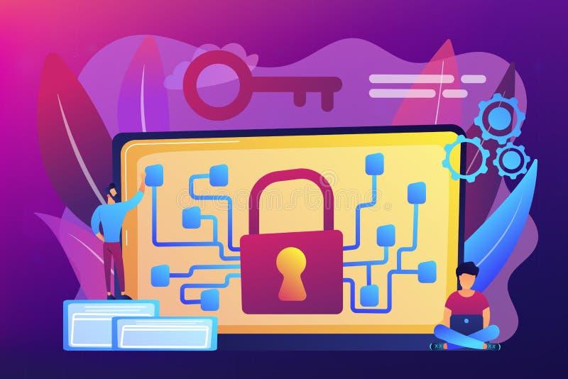 Illustration för kryptografi- och krypteringbegreppsvektor stock illustrationer