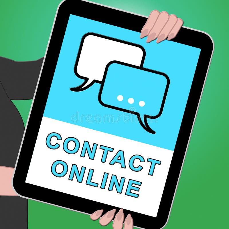 Illustration för kundtjänst 3d kontaktför online-minnestavla menande royaltyfri illustrationer