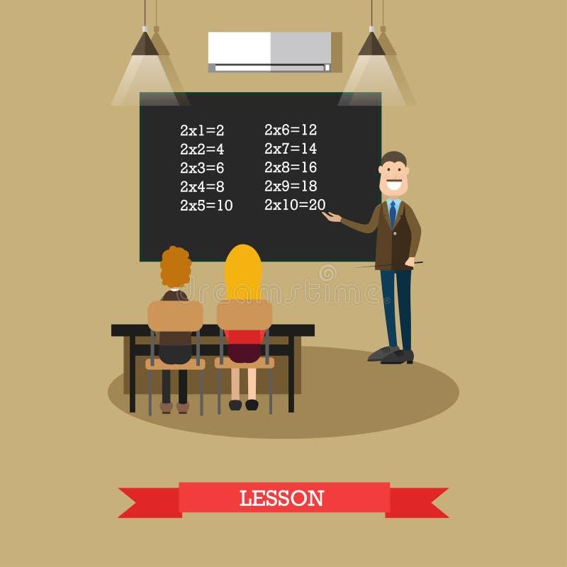 Illustration för kursbegreppsvektor i plan stil stock illustrationer