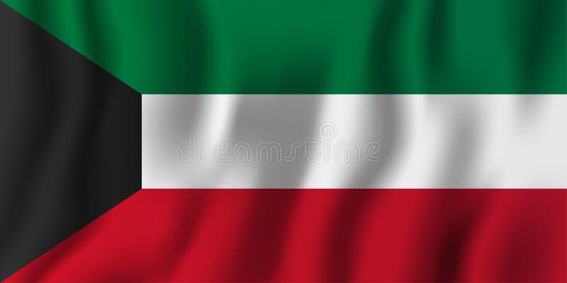 Illustration för Kuwait realistisk vinkande flaggavektor Nationellt landsbakgrundssymbol retro självständighet för bakgrundsdaggr vektor illustrationer